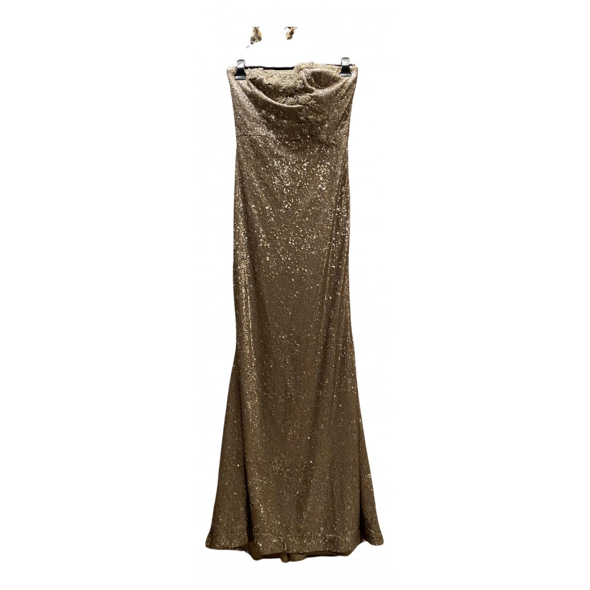 Marchesa Notte \N Kleid in  Gold Mit Pailletten