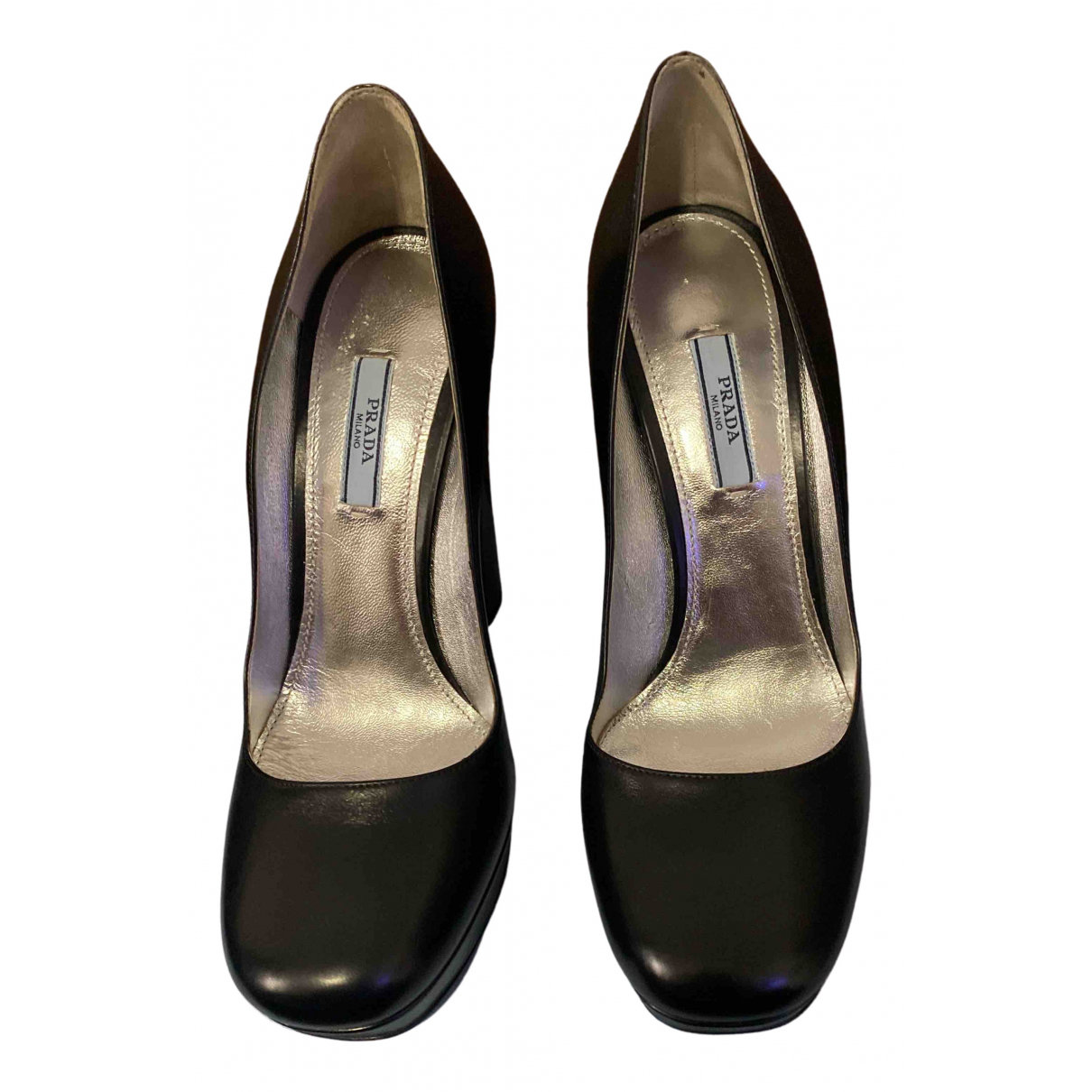 Prada N Black Leather Heels for Women 40.5 EU