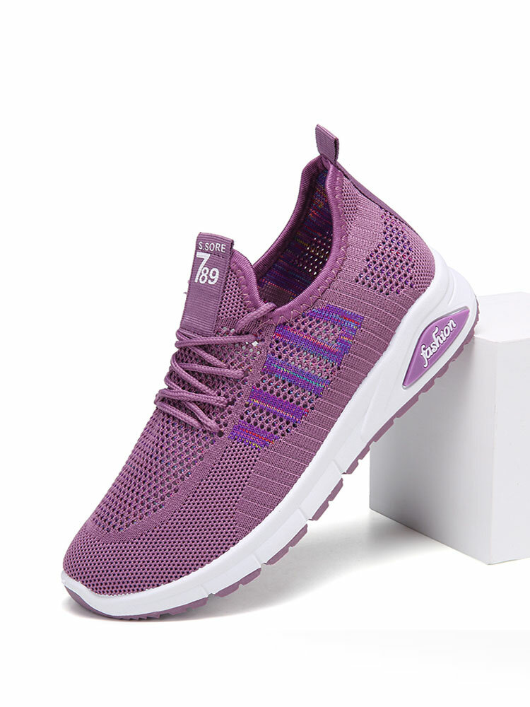 Women Mesh Breathable Sneakers Pattern Lace Up Casual Shoes