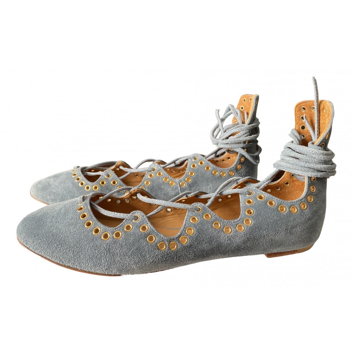 Isabel Marant \N Ballerinas in  Blau Veloursleder