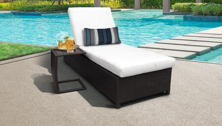 Belle BELLE-W-1x-ST-WHITE Patio Set with 1 Chaise with Wheels  1 Side Table - Wheat and White