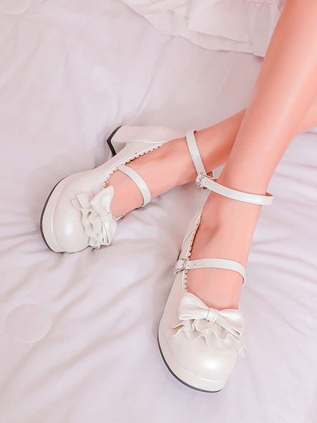 Milanoo Sweet Lolita Shoes Bows PU Leather Chunky Heel Lolita Pumps