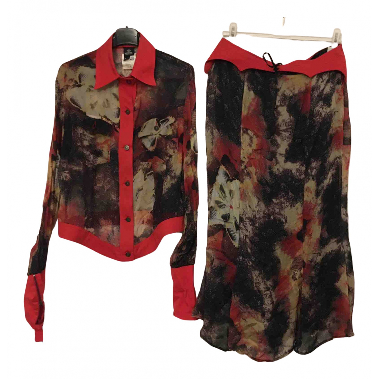 Versace \N Kleid in  Bordeauxrot Seide