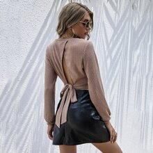 Tied Open Back Solid Pullover