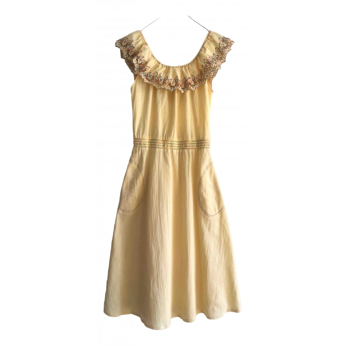 Non Signe / Unsigned Hippie Chic Kleid in  Gelb Baumwolle
