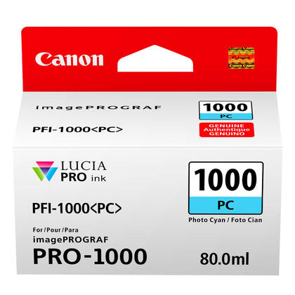 Canon PFI-1000PC Original Photo Cyan Ink Cartridge (0550C002)