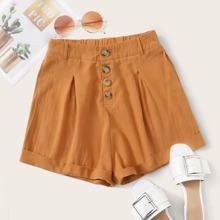 Shorts mit Knopfen vorn und gerolltem Saum