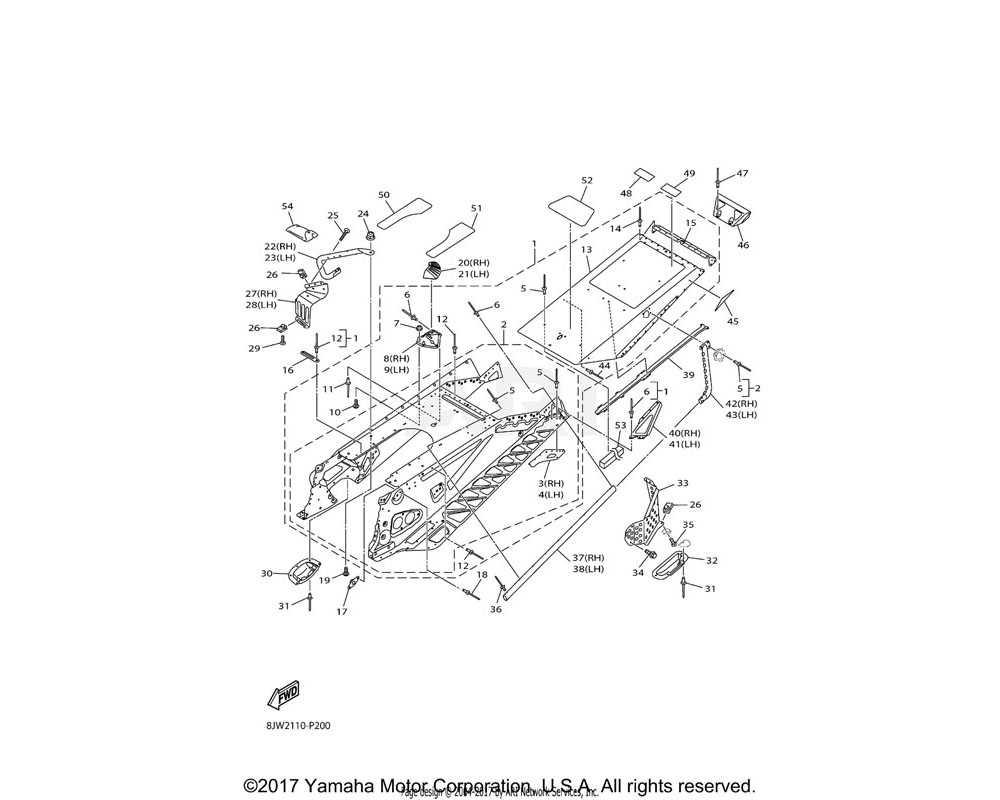 Yamaha OEM 8JW-F1911-30-00 PANEL, FRAME