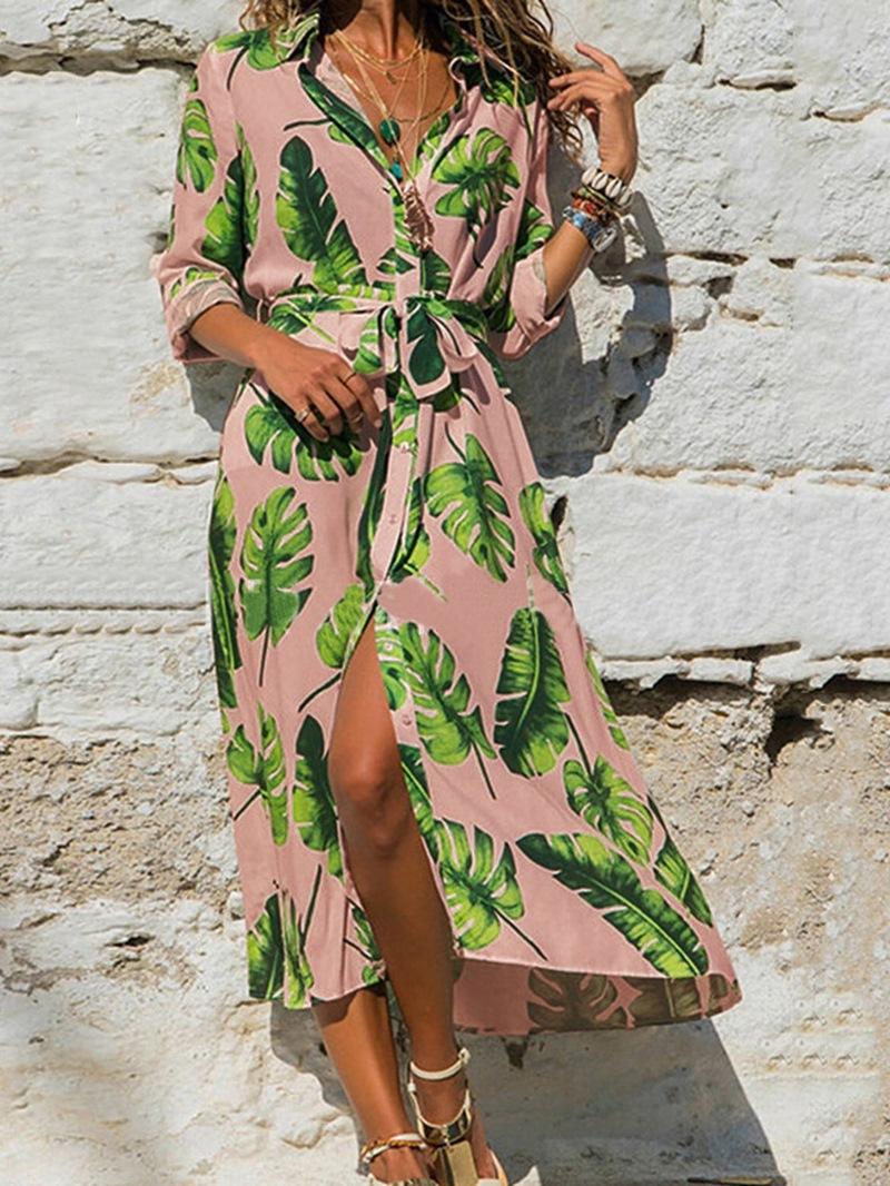 Ericdress Print Long Sleeve Lapel A-Line Plant Dress