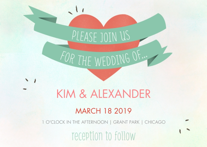 Wedding Invitations 5x7 Cards, Premium Cardstock 120lb with Rounded Corners, Card & Stationery -Wrapped Heart Wedding Invite