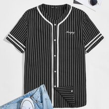 Guys Contrast Tape Letter Embroidered Striped Shirt