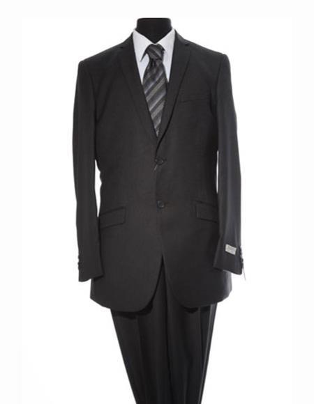 Men's 2 Button Single Breasted Stripe Pattern Black Suit