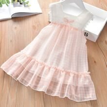 Toddler Girls Lace Trim Contrast Gingham Dress