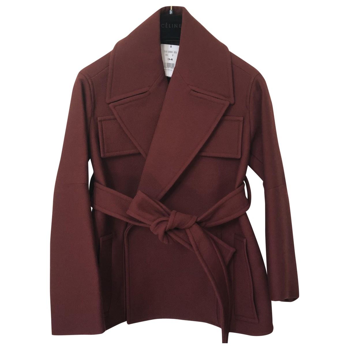 Celine - Manteau   pour femme en laine - bordeaux