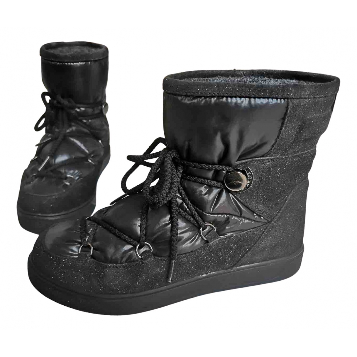 Moncler \N Black Suede Boots for Women 37 EU