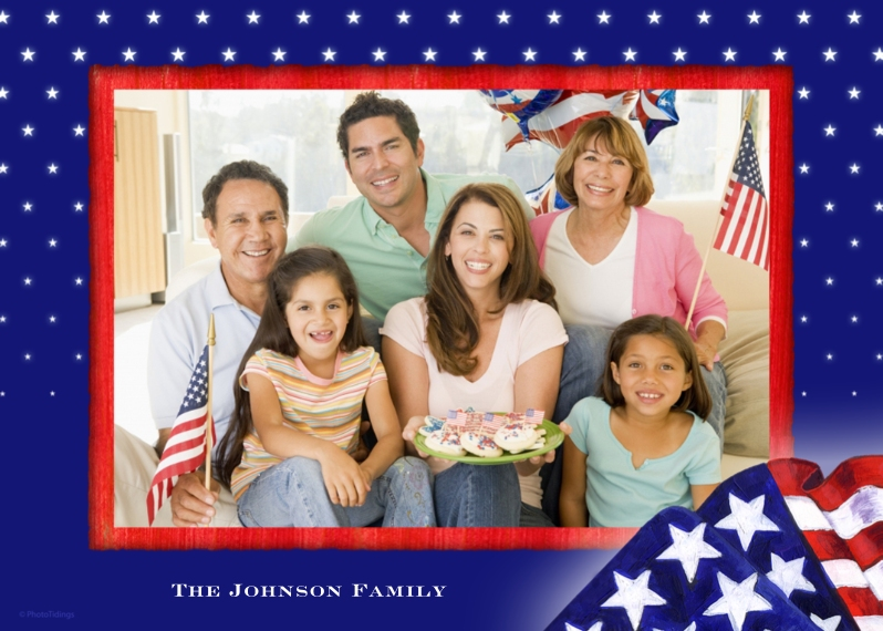 4th of July Photo Cards 5x7 Cards, Premium Cardstock 120lb with Elegant Corners, Card & Stationery -American Flag