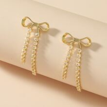 Rhinestone Bow Decor Earrings