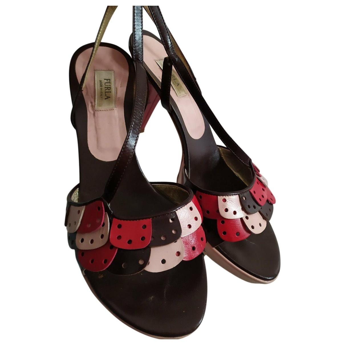 Furla - Sandales   pour femme en cuir - rouge