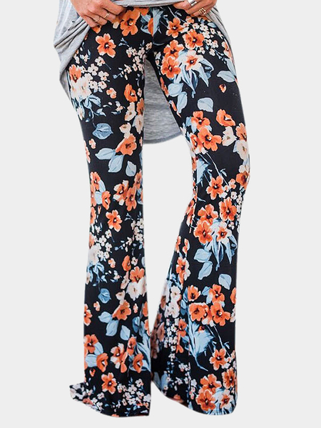 Yoins Black Floral Print Flared Long Pants