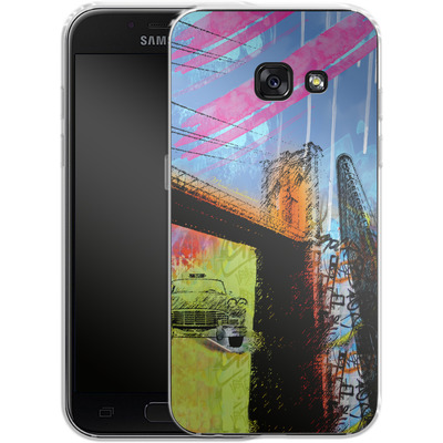 Samsung Galaxy A3 (2017) Silikon Handyhuelle - Pop Brooklyn Bridge von Mark Ashkenazi