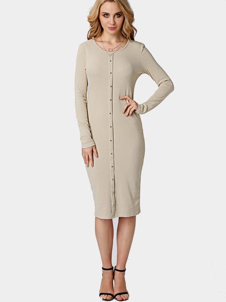 Yoins Khaki Single Breasted Round Neck Casual Midi T-shirt Dress