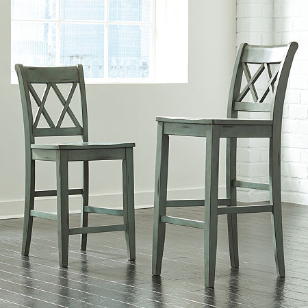 Signature Design by Ashley Madison Set of 2 Pub Height Bar Stools, One Size , Green