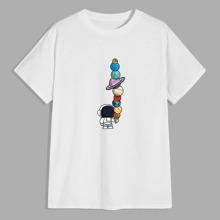 T-Shirt mit Planet & Karikatur Grafik
