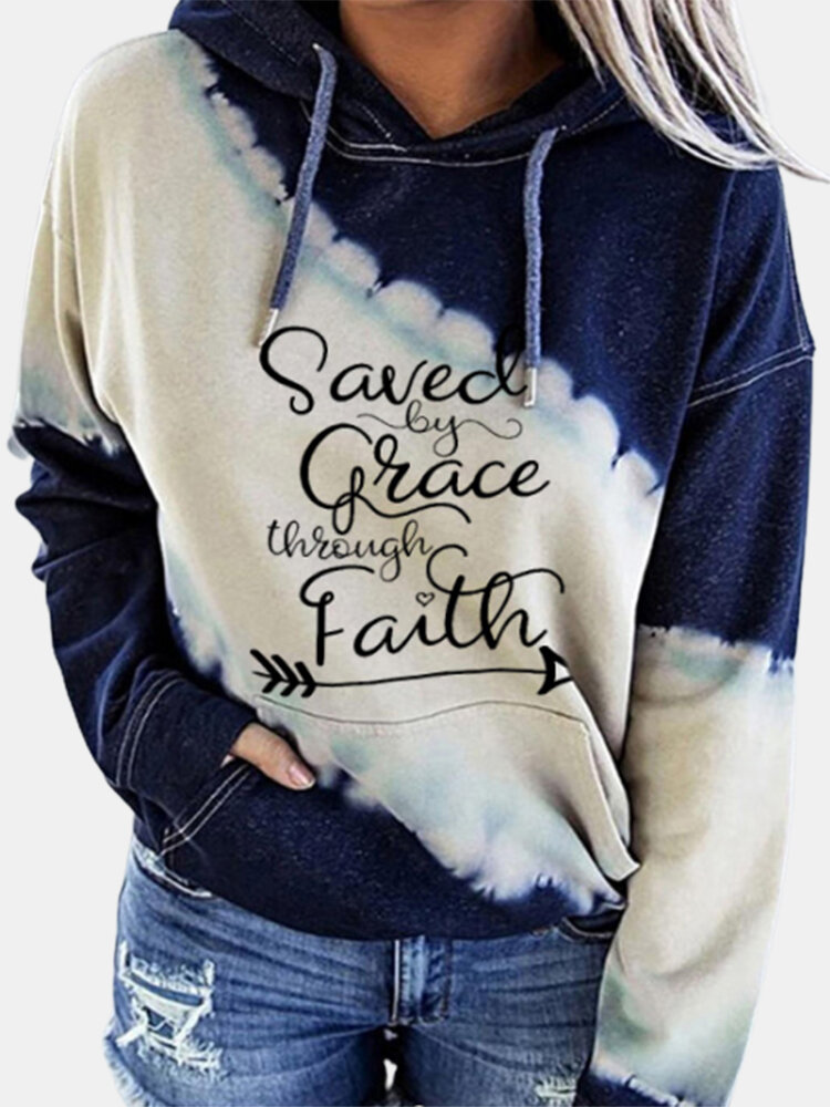 Casual Letters Print Drawstring Plus Size Hoodie
