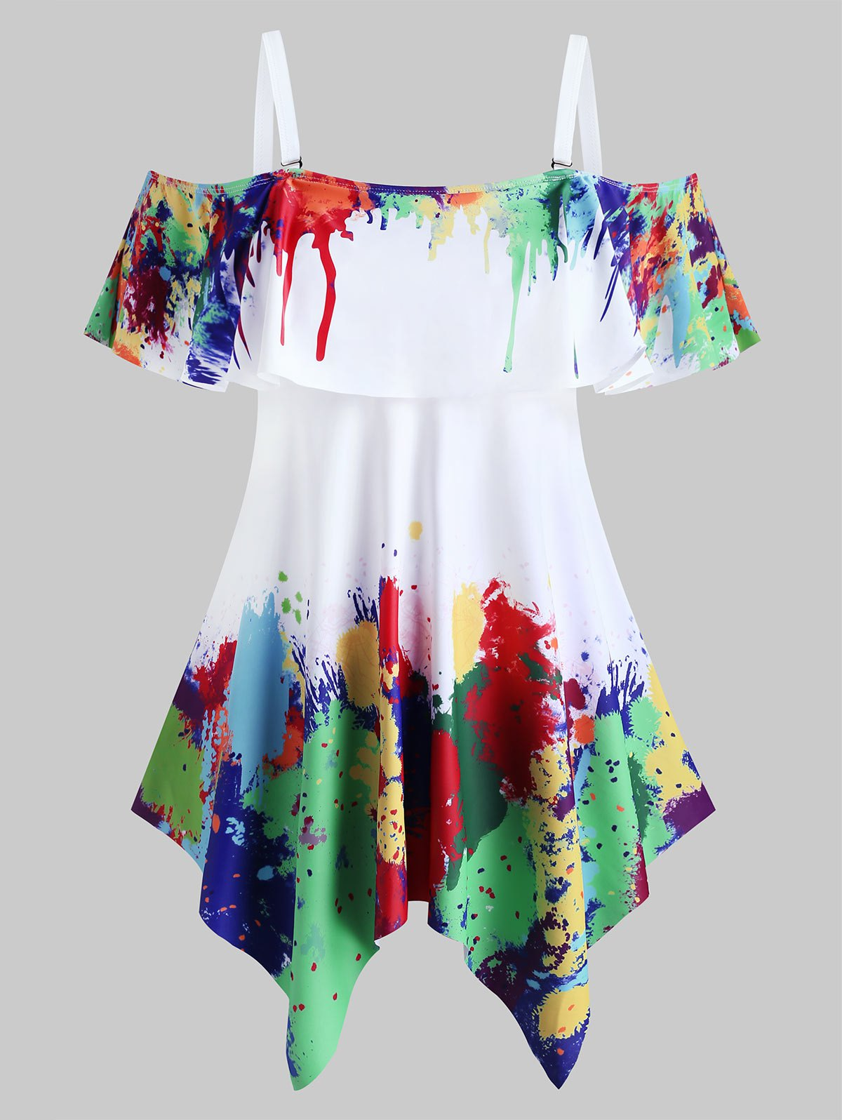 Plus Size Handkerchief  Splatter Paint Two Piece Swimwear