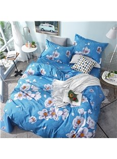 White Peach Blossom On Blue Background Printed 4-Piece Bedding Sets/Duvet Covers