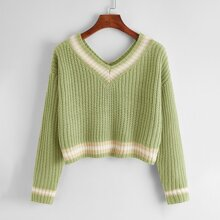 Drop Shoulder Striped Ribbed Knit Sweater