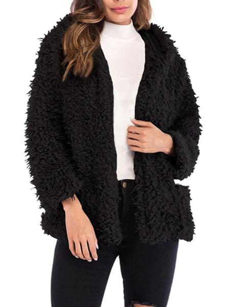 Milanoo Faux Shearling Coat Women Hooded Long Sleeves Short Winter Coats With Pockets