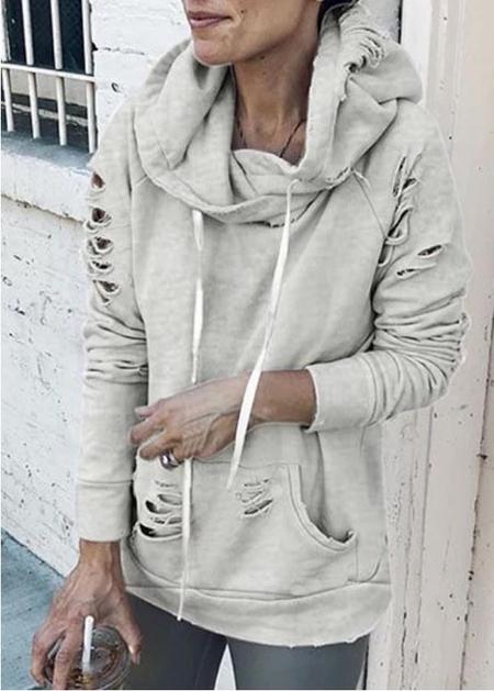 YOINS Grey Random Ripped Drawstring Pullover Hoodie