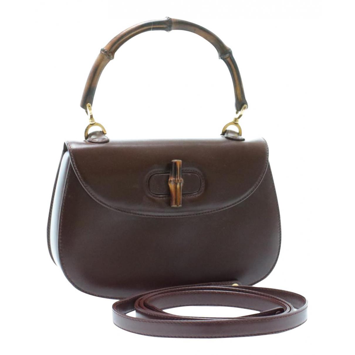 Gucci Bamboo Handtasche in  Braun Leder