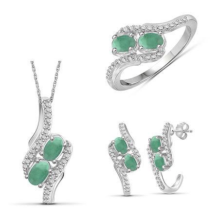 Diamond Accent Genuine Green Emerald Sterling Silver 3-pc. Jewelry Set, 6 , No Color Family