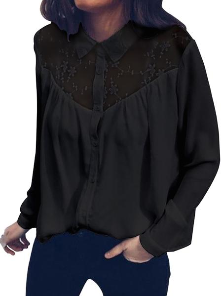 Yoins Button Design Patchwork Lace Blouse