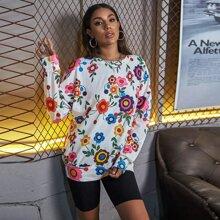 Floral Print Drop Shoulder Oversized Sweatshirt