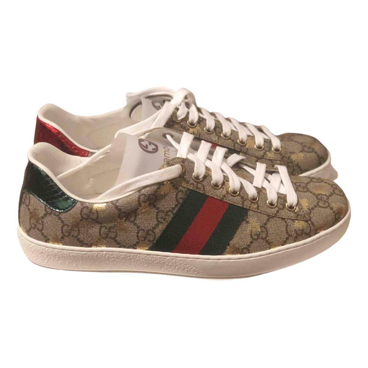 Gucci - Baskets Ace pour homme en toile - beige