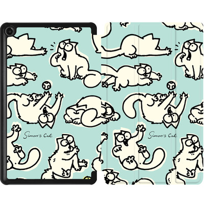 Amazon Fire 7 (2017) Tablet Smart Case - Simon´s Cat Green Pattern von Simons Cat