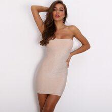 vestido ajustado brillante tubo de espalda con cremallera