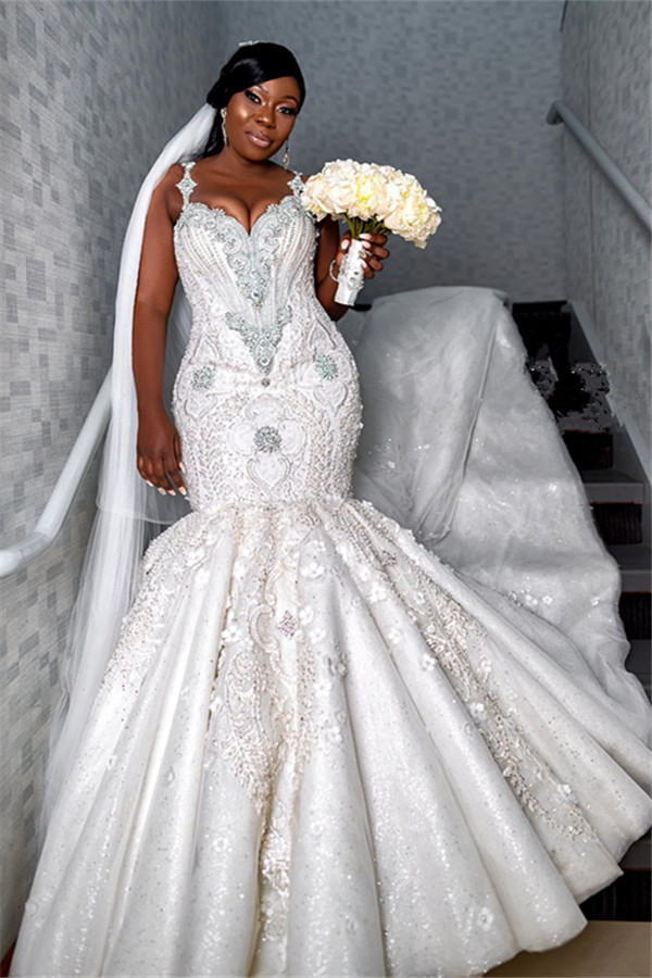 Robe de mariee cherie de luxe a bretelles spaghetti   Appliques de perles sirene robes de mariee BC4181