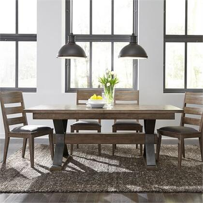 Sonoma Road Collection 473-DR-5TRS 5PC Trestle Table Set with 4x Ladder Back Side Chair and 1 Trestle Table in Weather Beaten Bark Finish with