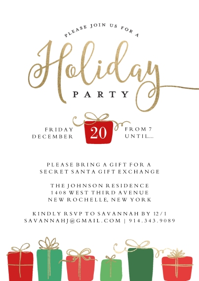Christmas & Holiday Party Invitations Flat Glossy Photo Paper Cards with Envelopes, 5x7, Card & Stationery -Holiday Invite Gifts