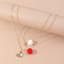 2 piezas collar de niñitas con diseño de pompon de Navidad