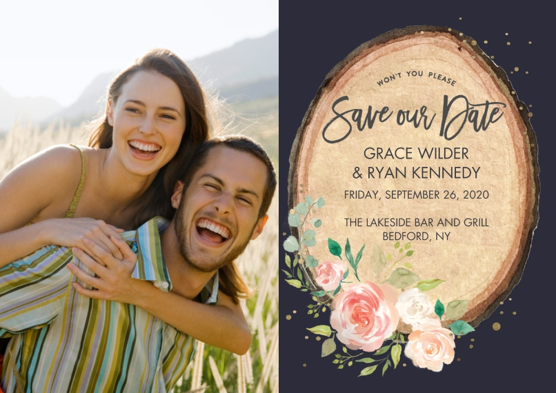 Save the Date 5x7 Cards, Premium Cardstock 120lb with Rounded Corners, Card & Stationery -Save the Date Floral Wood Plaque