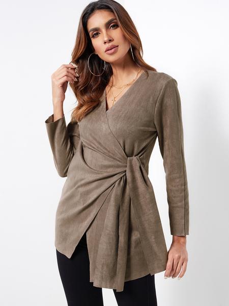 Yoins Fashion Khaki Crossed Front V-neck Self-tie Design Irregular hem Coat