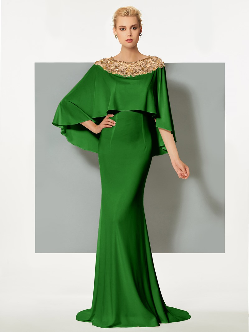 Ericdress Bateau Neck Beaded Sweep Train Mermaid Evening Dress