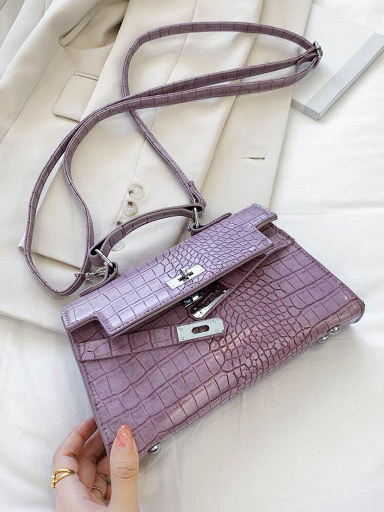 Women Alligator Trapezoid Solid Shoulder Bag Handbag