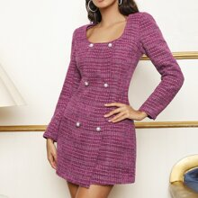 Scoop Neck Double Breasted Front Tweed Dress