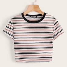 Pink Rippenstrick Gestreift Laessig T-Shirts Grosse Grossen